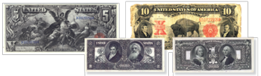 US paper money has included images of a goddess representing electricity, bison, Robert Fulton and Samuel Morse, and first lady Martha Washington.